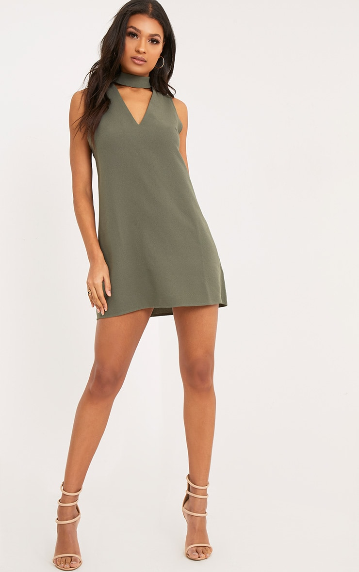 Cinder Khaki Choker Detail Loose Fit Dress 4