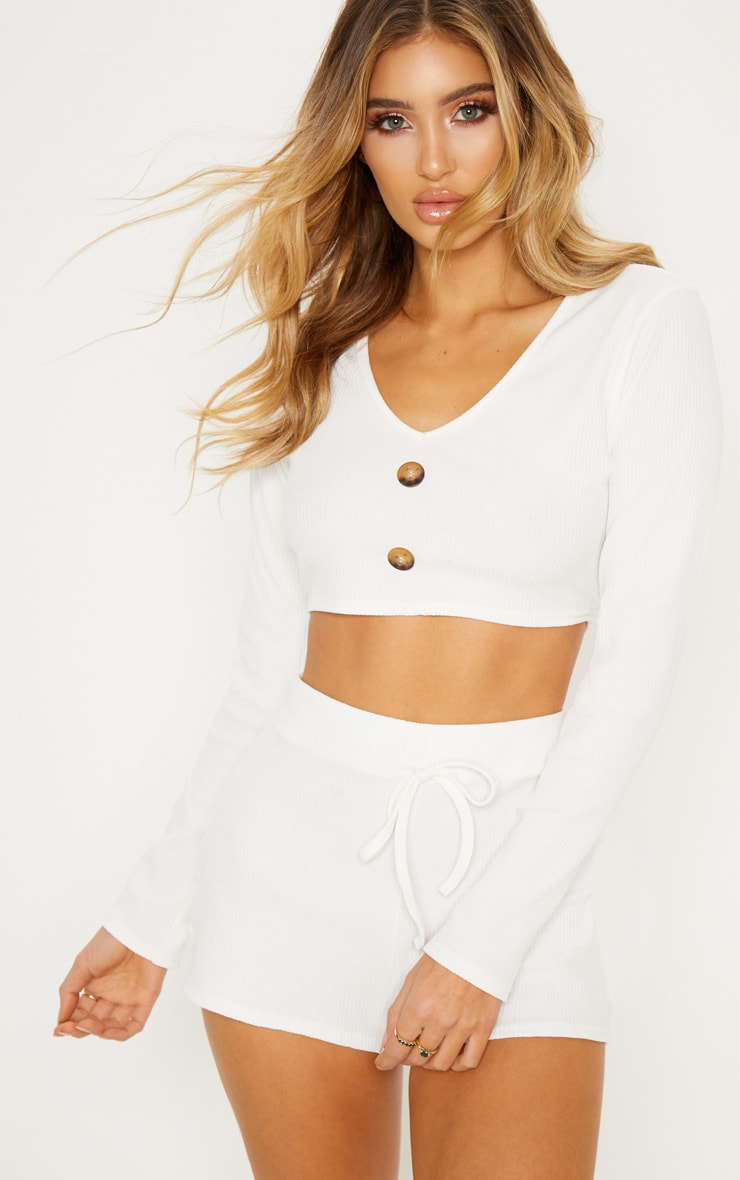 Cream Rib Floaty Shorts