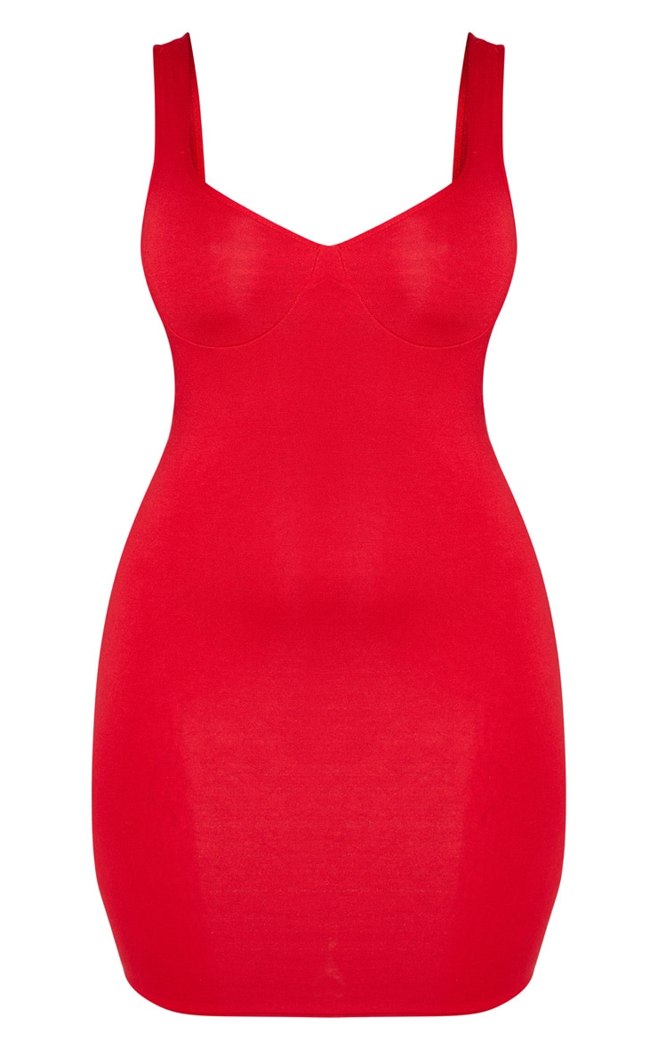 Shape Red Jersey Bust Cup Strappy Bodycon Dress 4