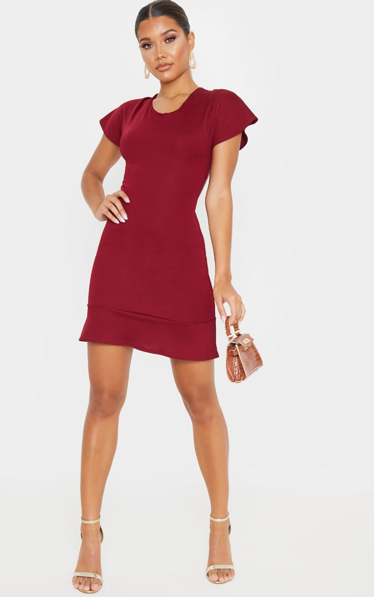 Burgundy Criss Cross Back Frill Hem Bodycon Dress 4