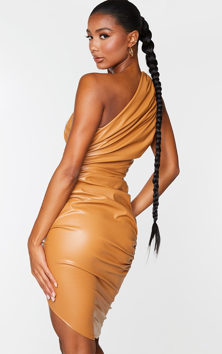 Camel PU Ruched One Shoulder Bodycon Dress 2