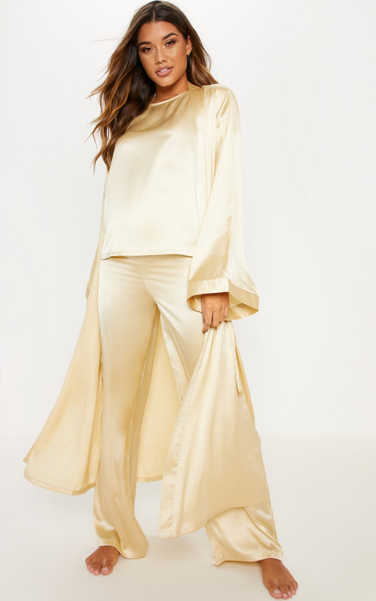 Champagne Basic Satin Robe 3