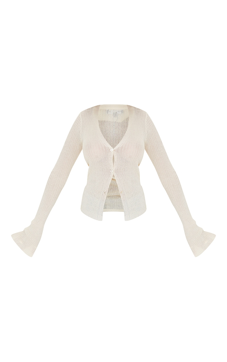 Cream Sheer Knit Button Up Collared Cardigan 5