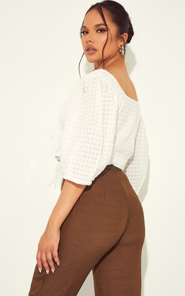 White Broderie Puff Sleeve Double Lace Up Crop Top 2