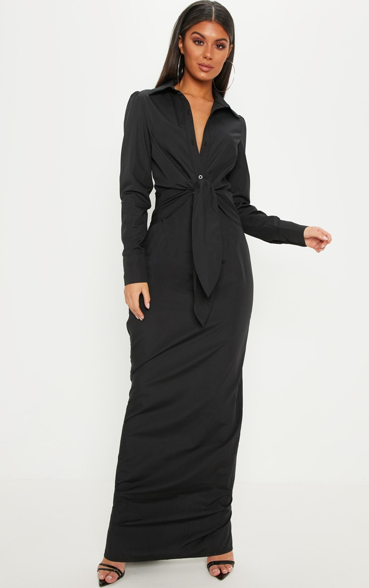 Black Knot Detail Maxi Shirt Dress