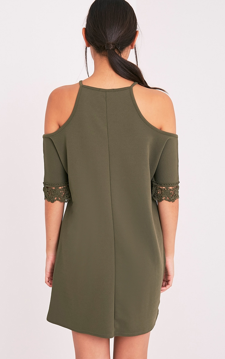 Christie Khaki Lace Trim Cold Shoulder Dress 2