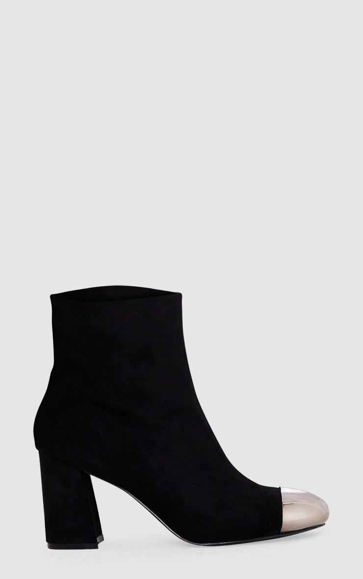 Black Metallic Toe Ankle Boots  3