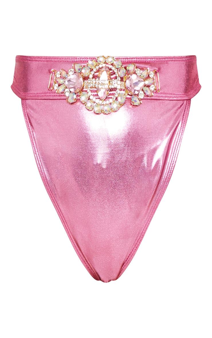 Premium Pink Metallic Jewel Front Pool Party Bottom 4