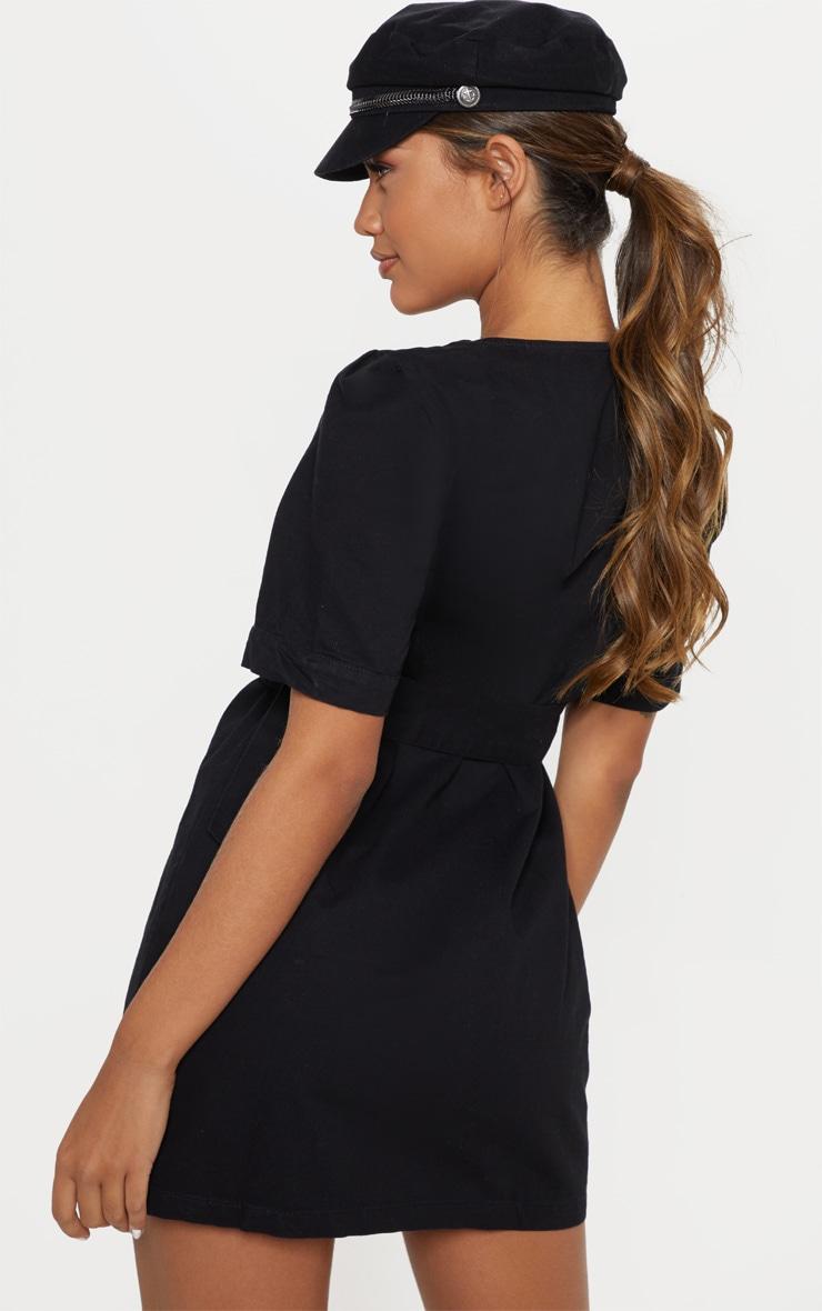 Black Buckle Belt Denim Mini Dress  2