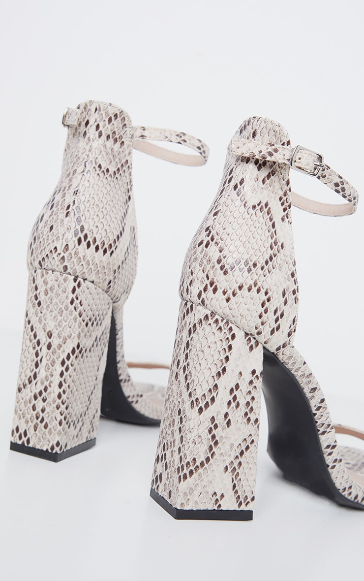 Snake High Block Heel Sandal 4