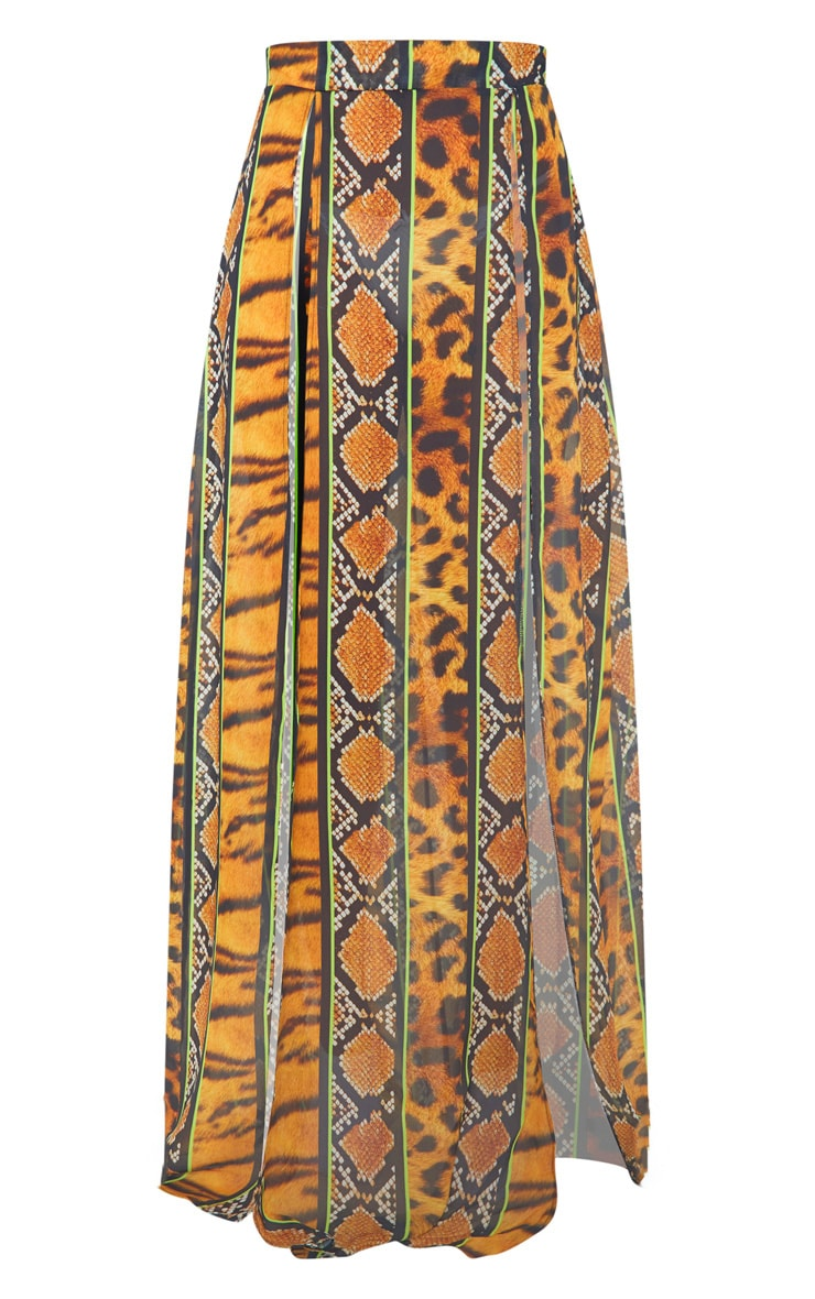 Orange Stripe Tiger Print Double Split Maxi Skirt 4