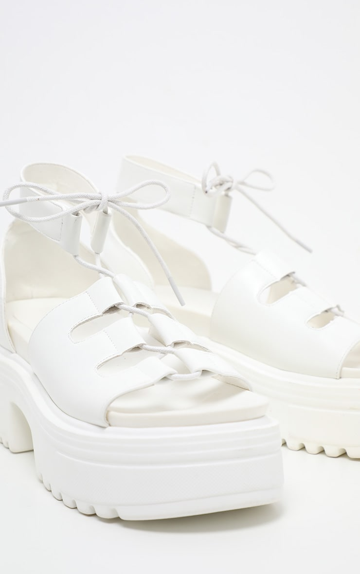 White Chunky Ghillie Lace Up Sandal 4