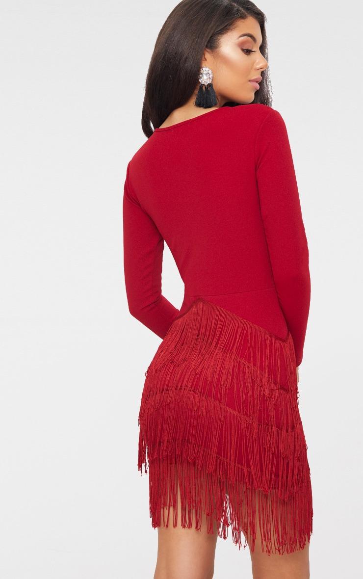 Burgundy Long Sleeve Tassel Detail Bodycon Dress 2
