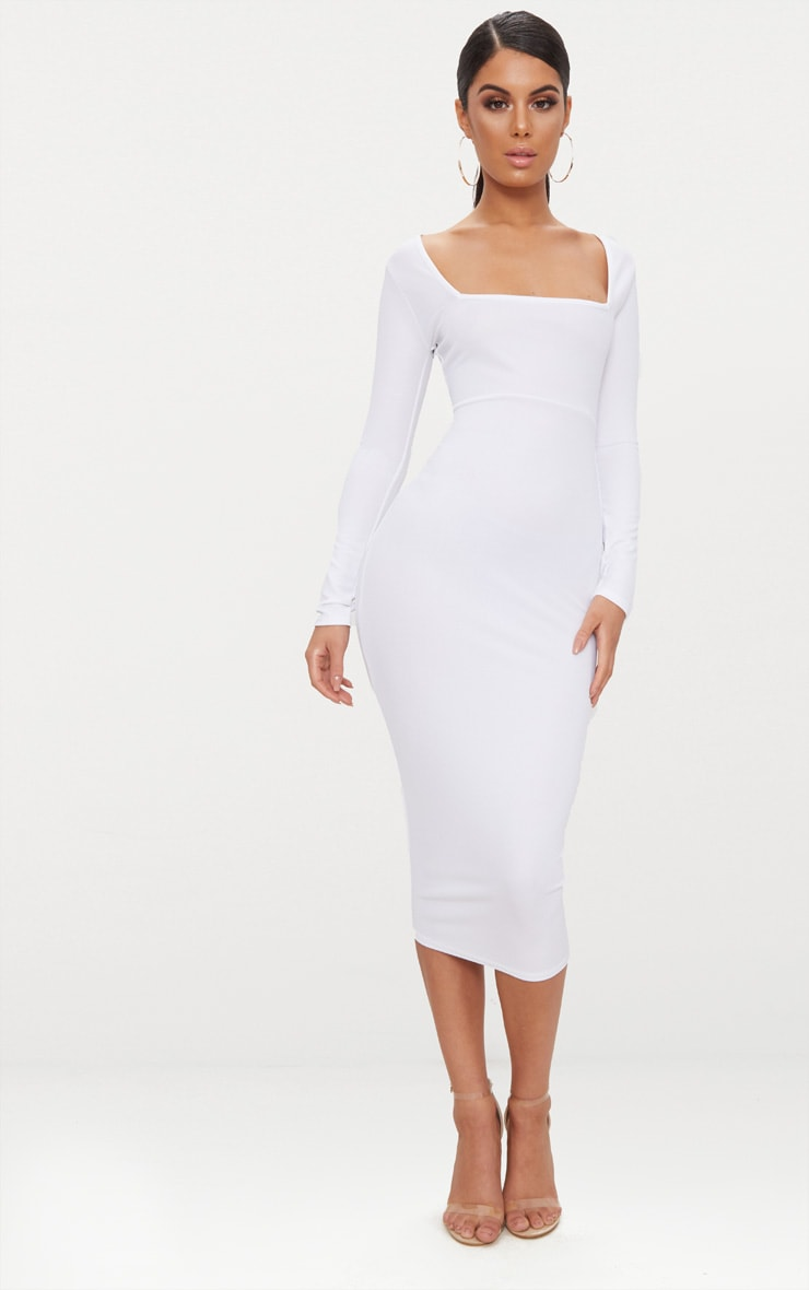 White Square Neck Long Sleeve Midaxi Dress 1