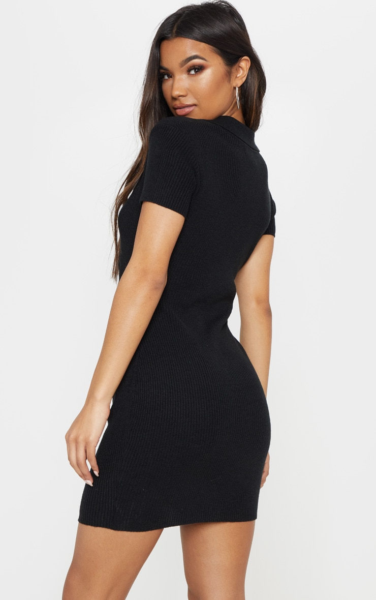 Black Knitted Twist Front Dress 2