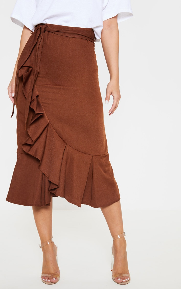 Petite Chocolate Brown Woven Frill Detail Midi Skirt 2