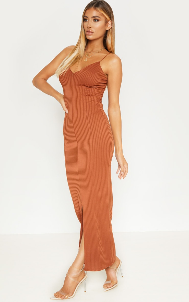 Rust Strappy Plunge Ribbed Midaxi Dress 4