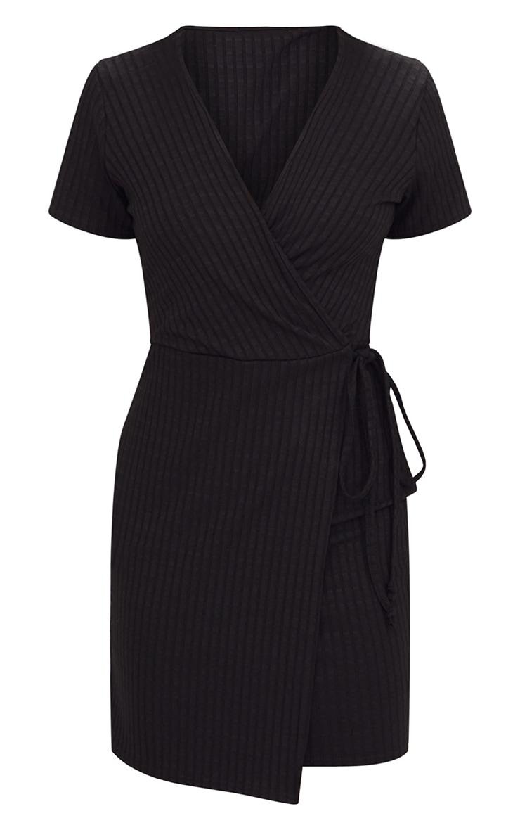 Black Ribbed Wrap Dress 3