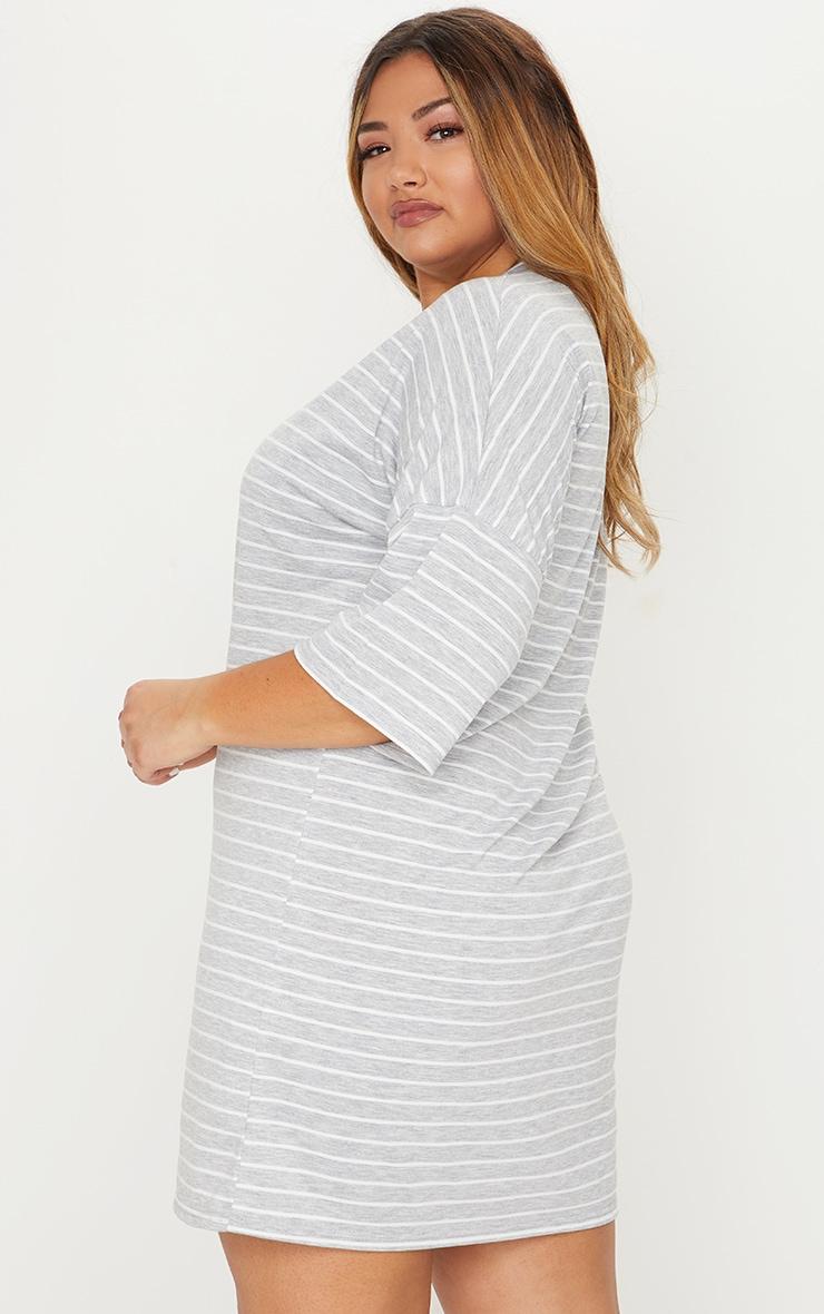 Plus Grey Striped Oversized T Shirt Dress 2