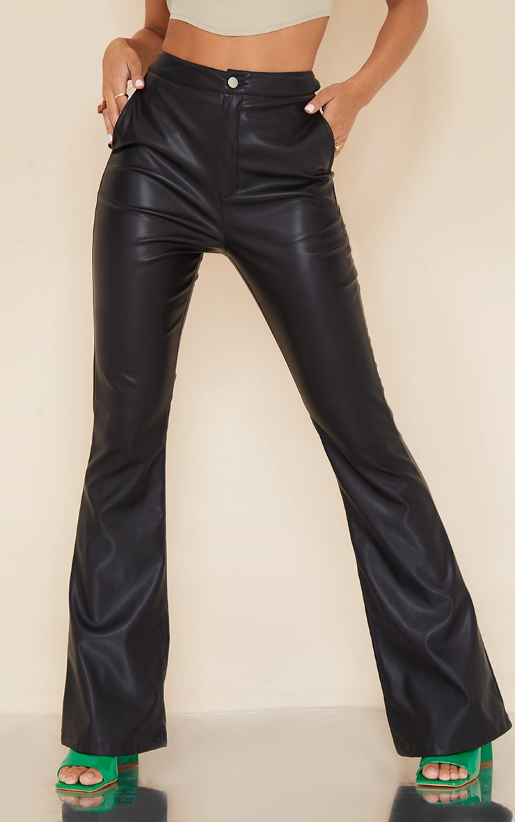 Black Faux Leather Thong Back Flare Pants 2