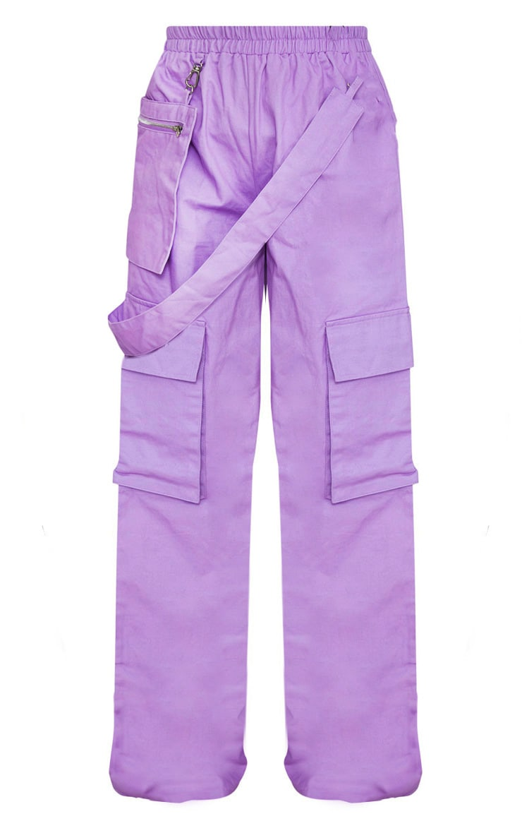 Lilac Zip Pocket Detail Wide Leg Cargo Trousers  3