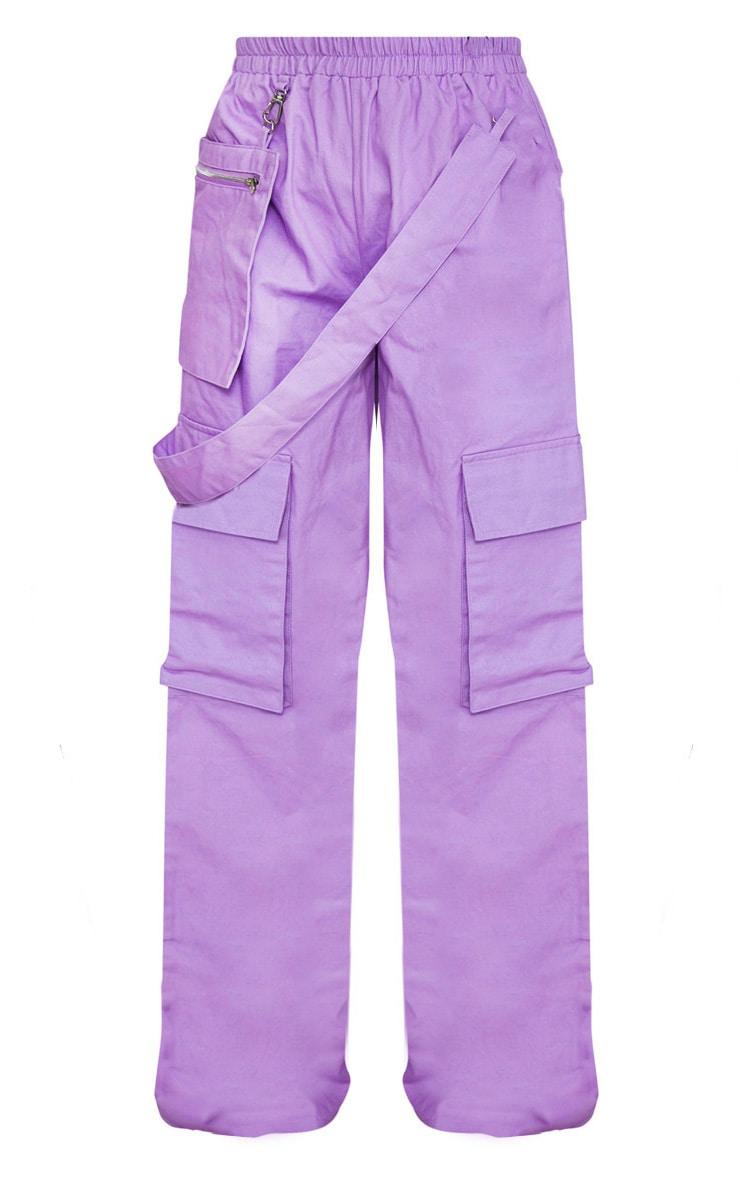Lilac Zip Pocket Detail Wide Leg Cargo Pants  3