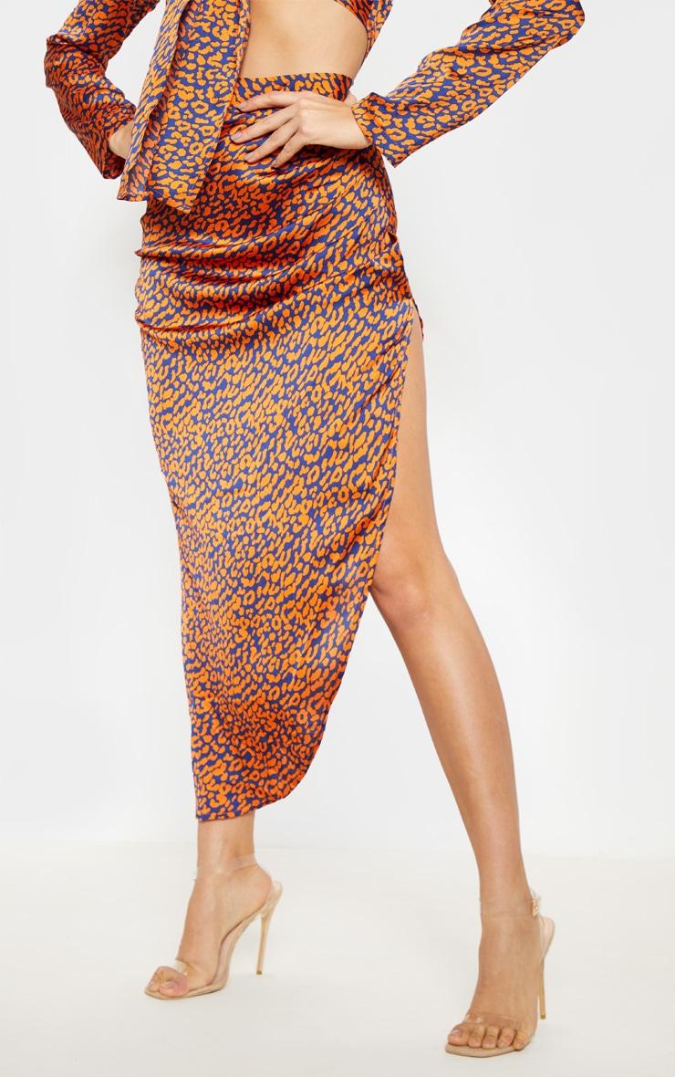 Orange Leopard Print Asymmetric Midi Skirt 2
