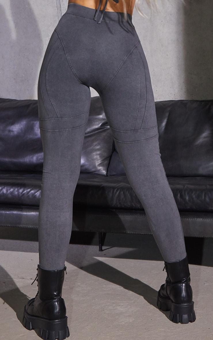 Charcoal Grey Acid Washed Seam Detail Leggings 3