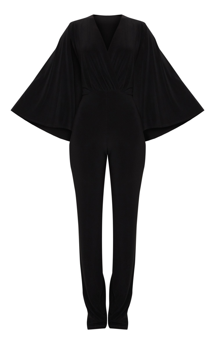 Black Plunge Cape Detail Wrap Jumpsuit 3
