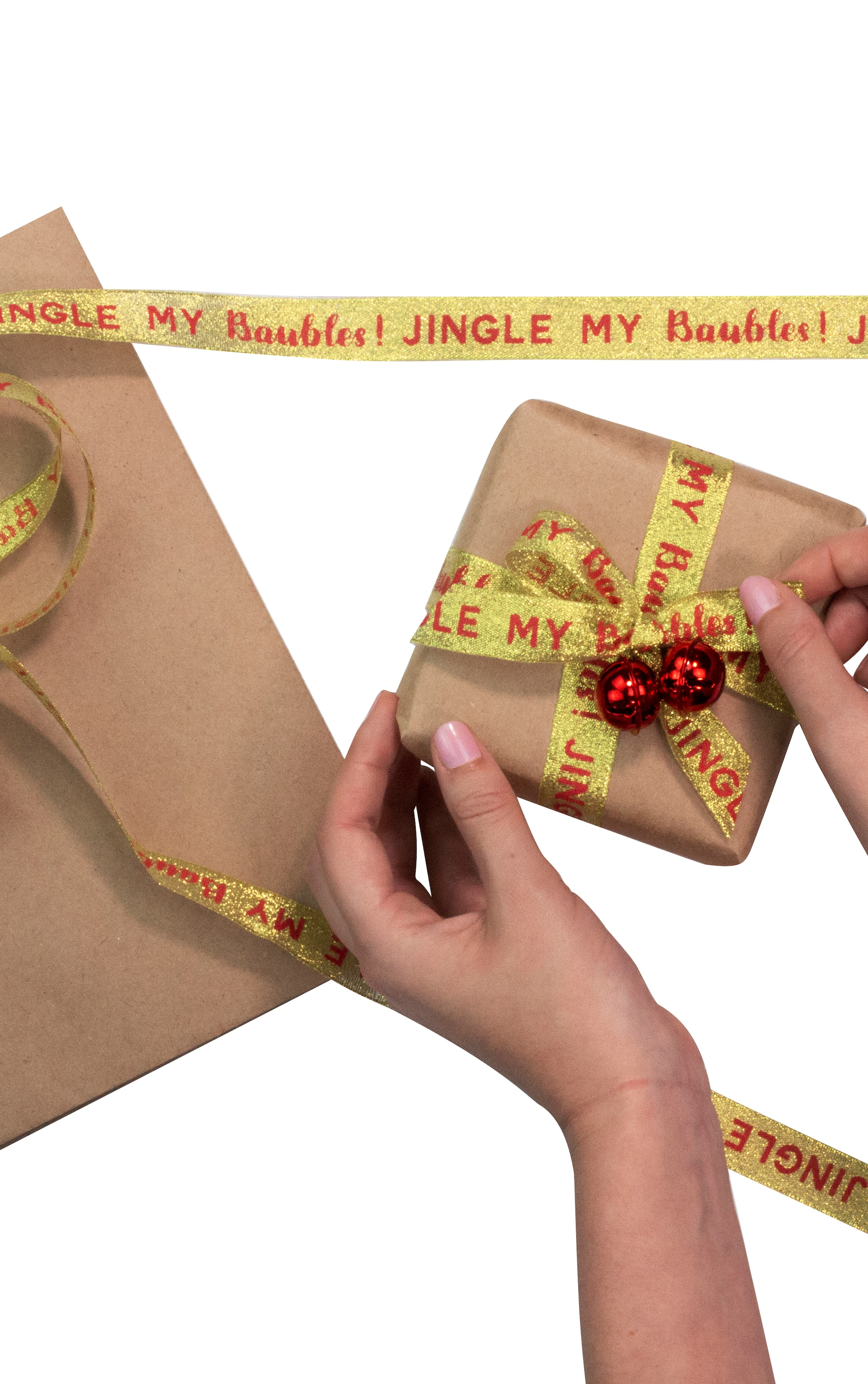 Ginger Ray Jingle my bells wrap Kit with bells ribbon and kraft wrap 2