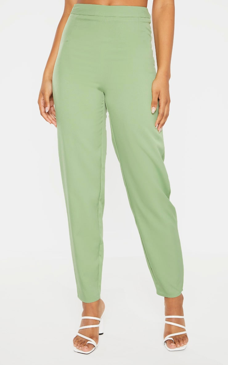 Tall Sage Green Wide Leg Slim Cuff Suit Trousers 2