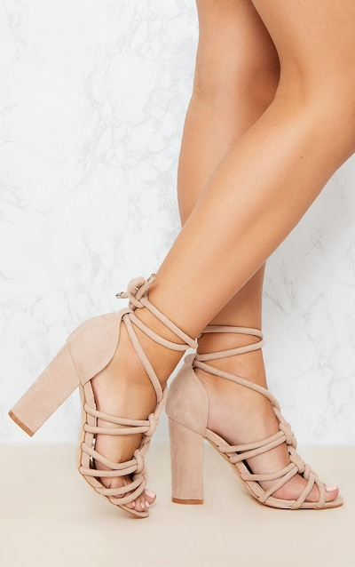 4c33c7b1ee44 Beige Knotted Rope Ankle Tie Block Heels. More colours available