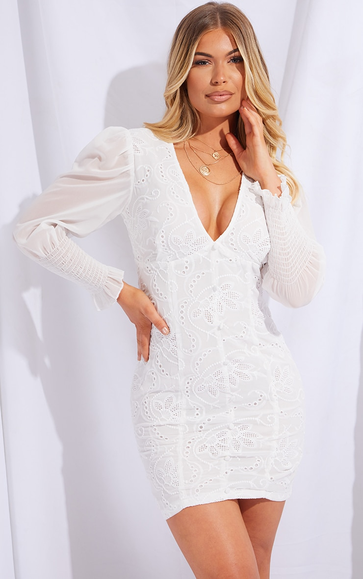 White Broderie Anglaise Shirred Sleeve Bodycon Dress 1