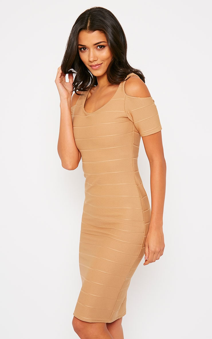 Bea Camel Cold Shoulder Bandage Dress 5