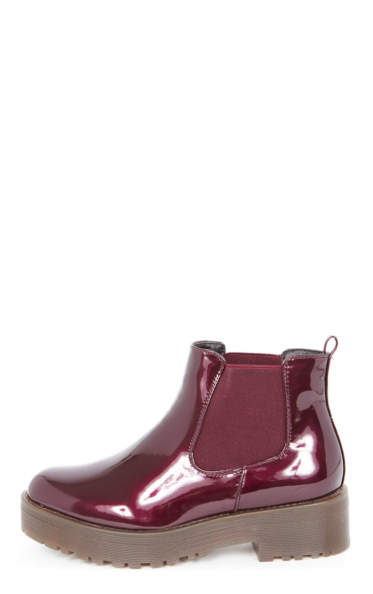 Sabine Plum Patent Cleated Sole Chelsea Boot  1
