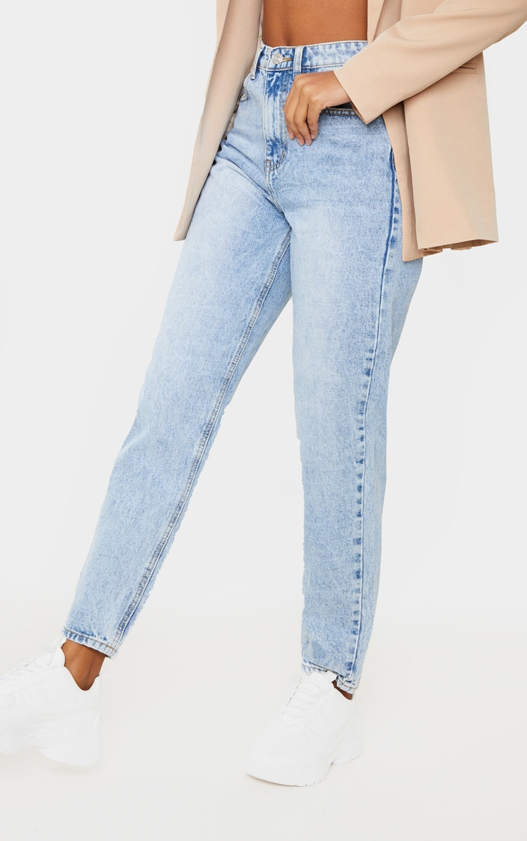 PRETTYLITTLETHING Light Wash Acid Mom Jean 2
