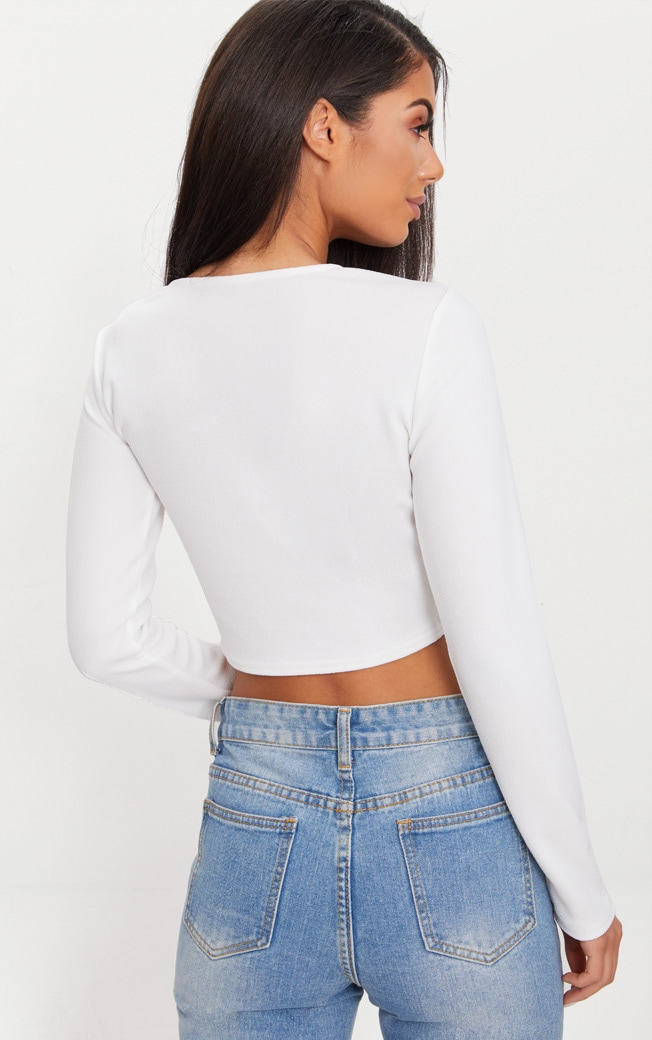 White Lace Up Front Long Sleeve Crop Top  2