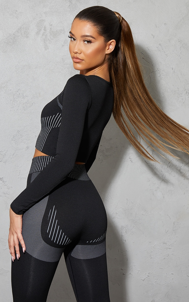 PRETTYLITTLETHING Black Contour Seamless Long Sleeve Top 2