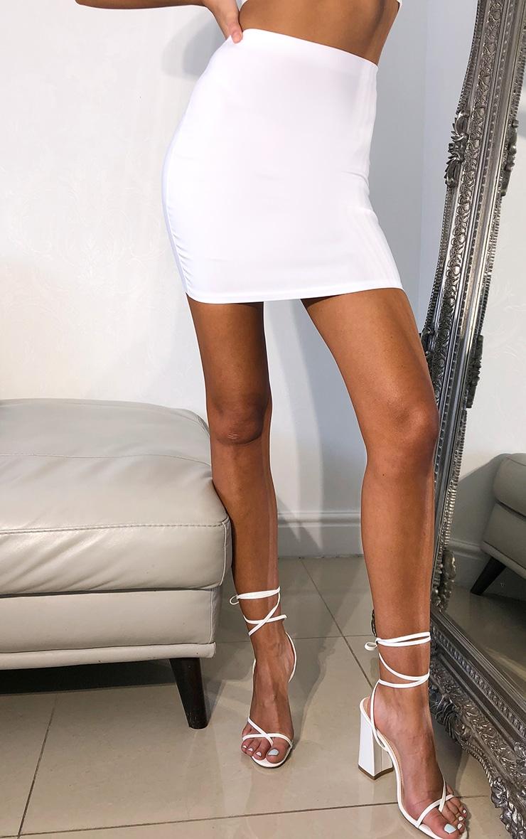 White Woven Seam Detail Mini Skirt 2