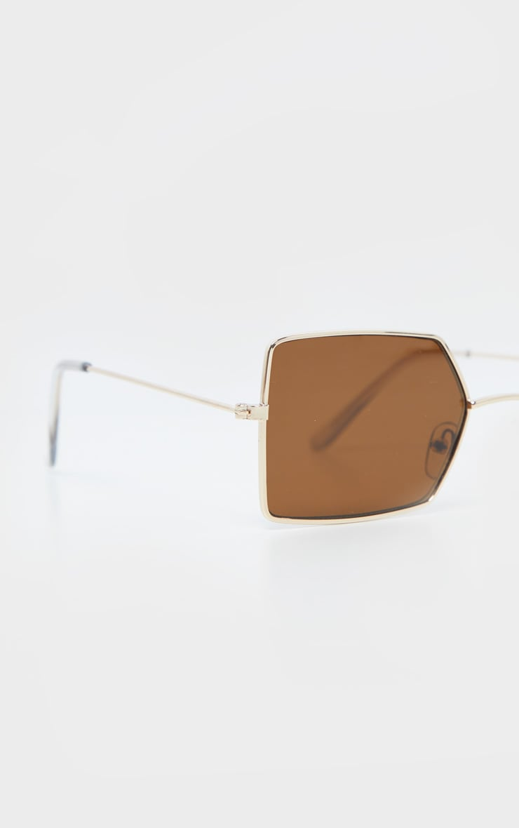 Brown Retro Square Sunglasses 4