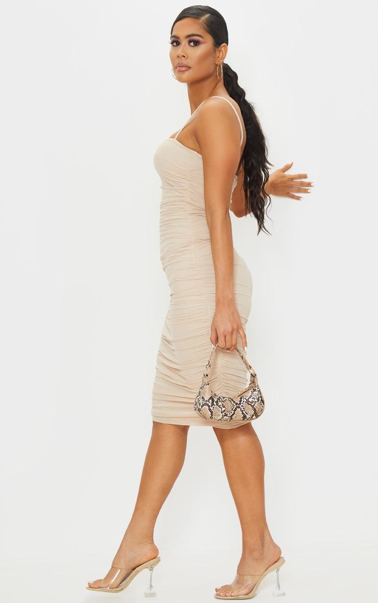 فستان ميدي خامة شبكية بلون البشرة بحمالات 3