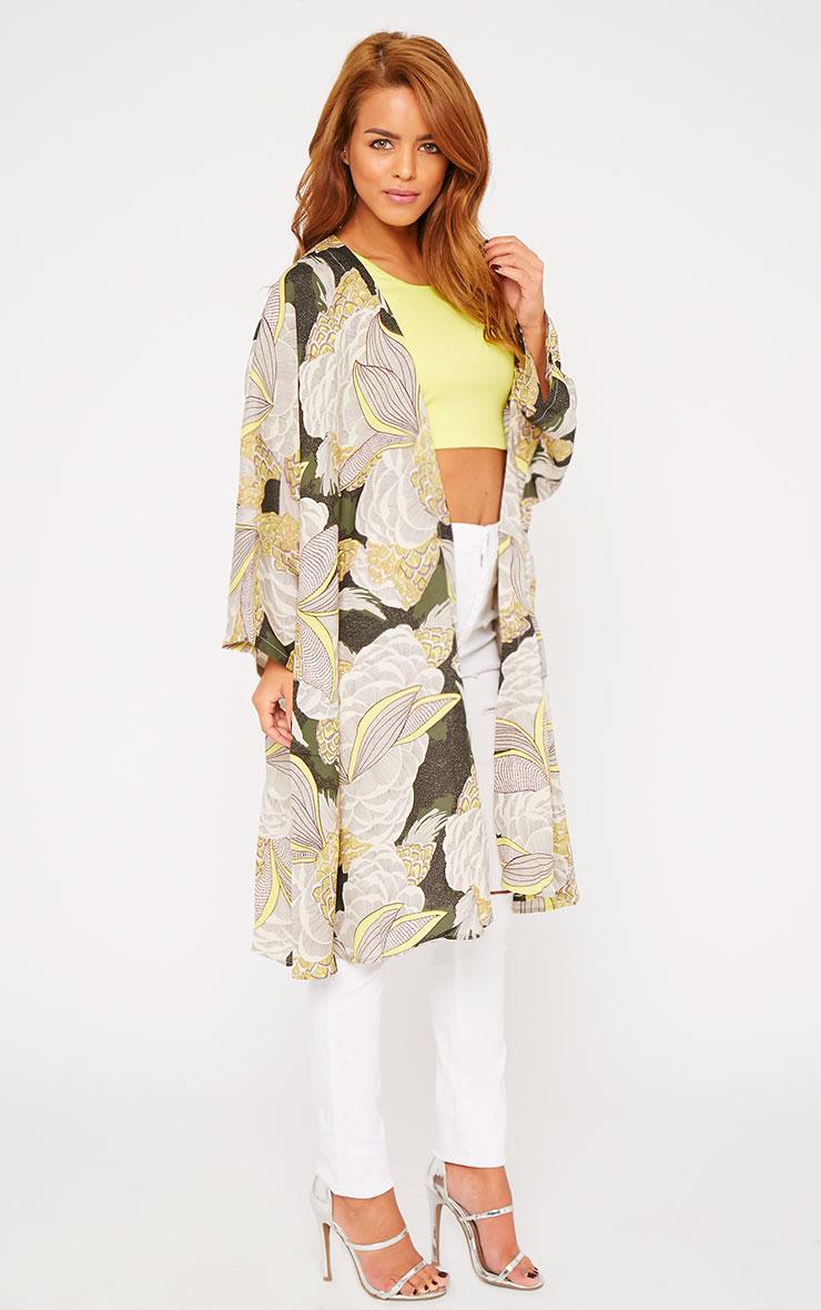 Mallory Green Leaf Tropical Print Kimono  4