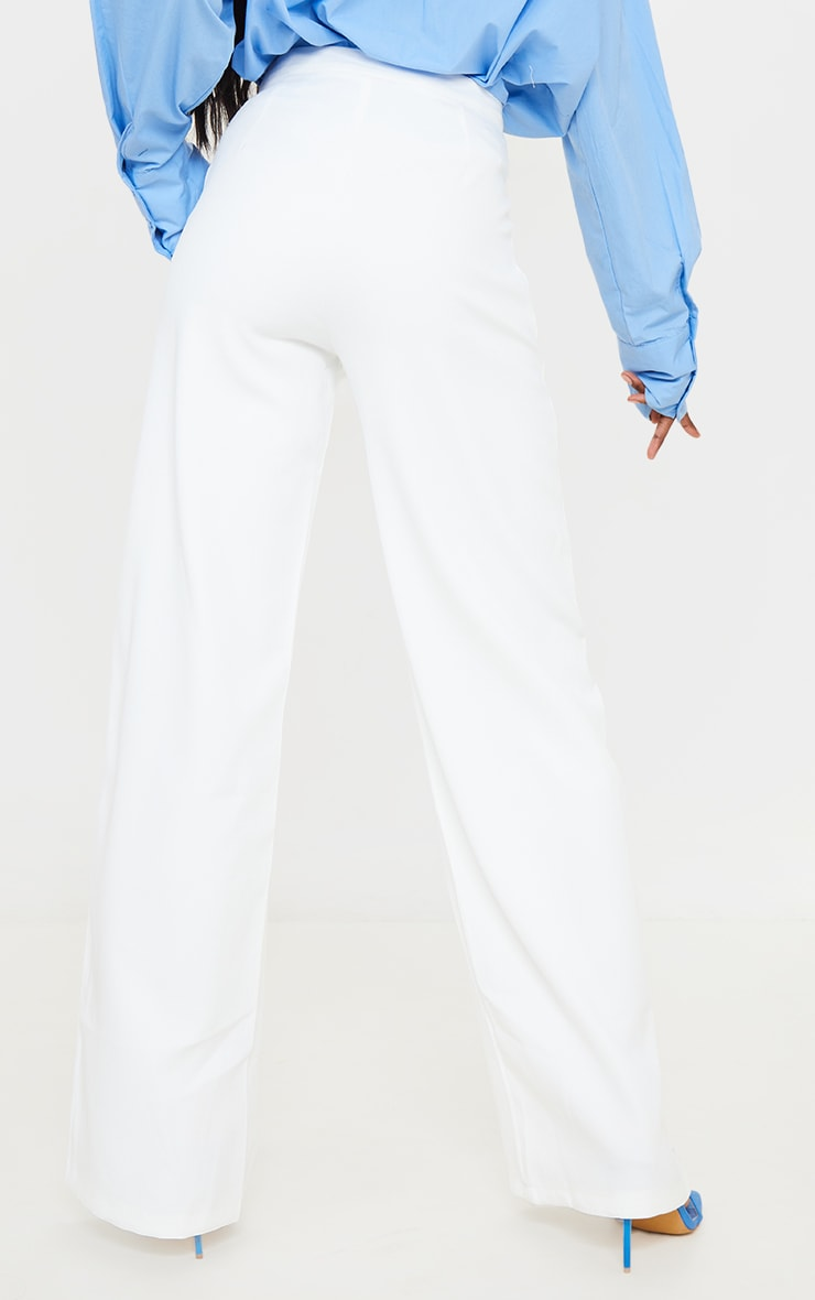 Tall White Wide Leg Dad Trousers 3