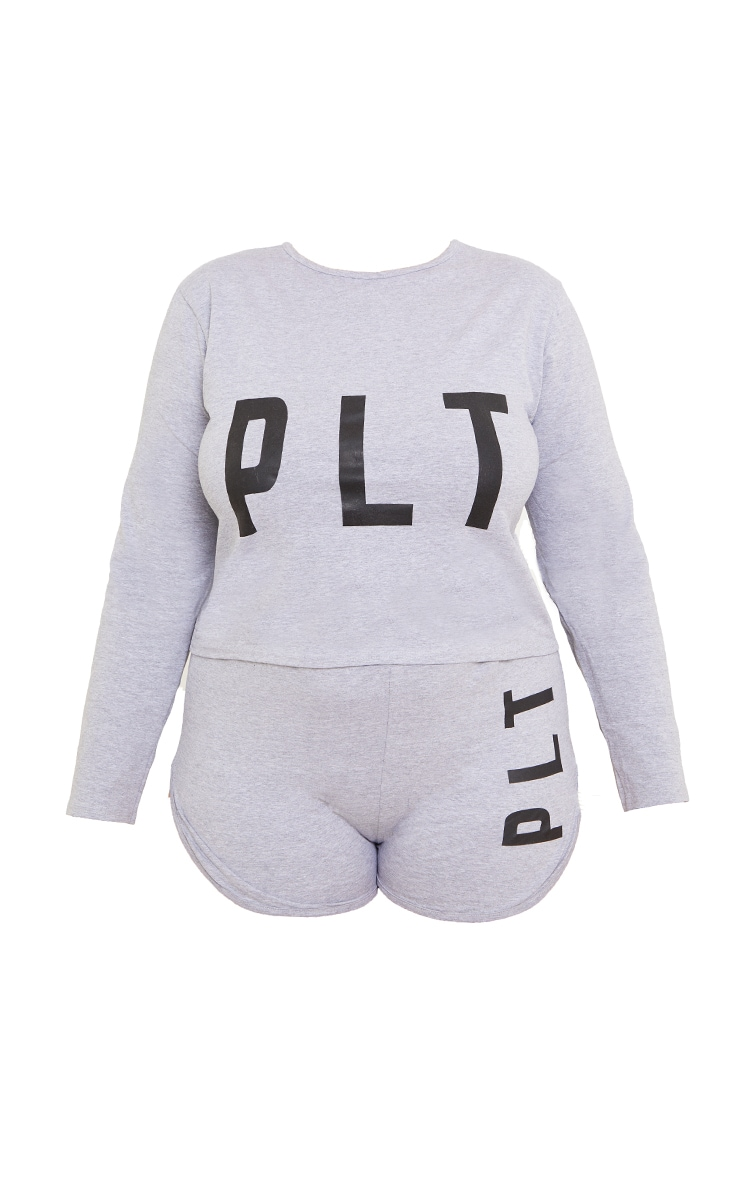 PRETTYLITTLETHING Plus Grey Short Pyjama Set 5