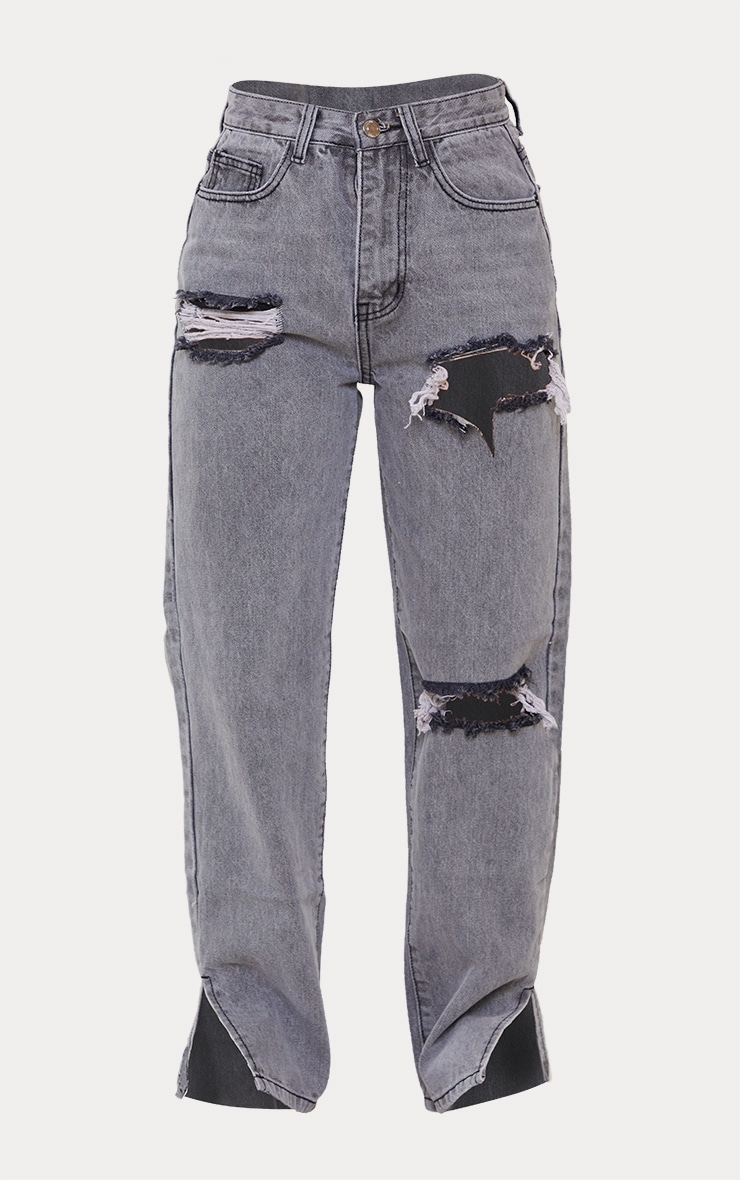 Petite Grey Distressed Split Hem Jeans 5