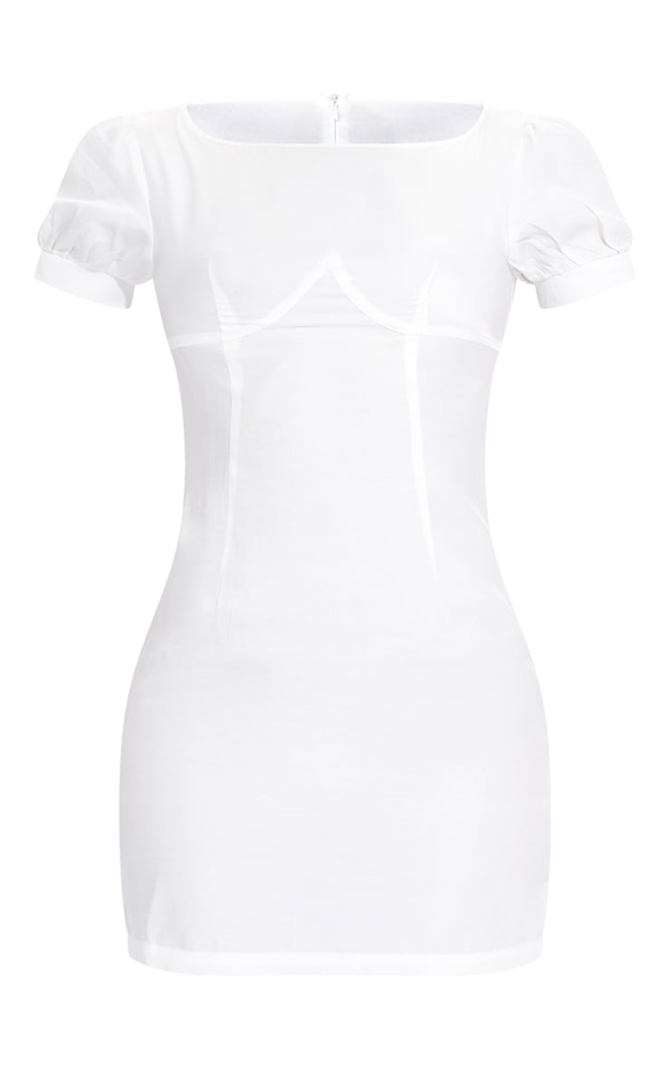 White Woven Cup Detail Puff Sleeve Bodycon Dress 5