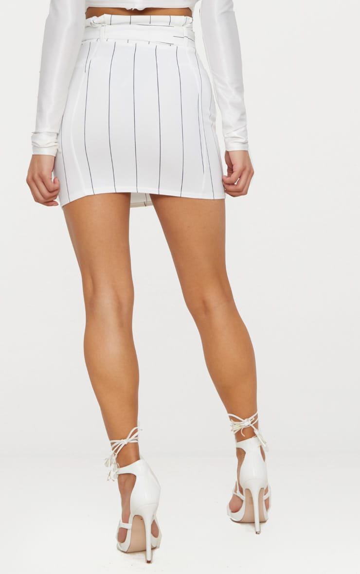 White Pinstripe Tie Waist Mini Skirt 4