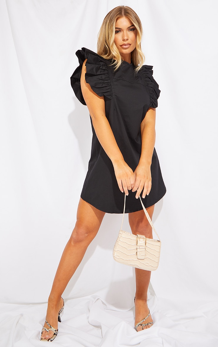 Black Frill Sleeve Detail Woven Smock Dress 1