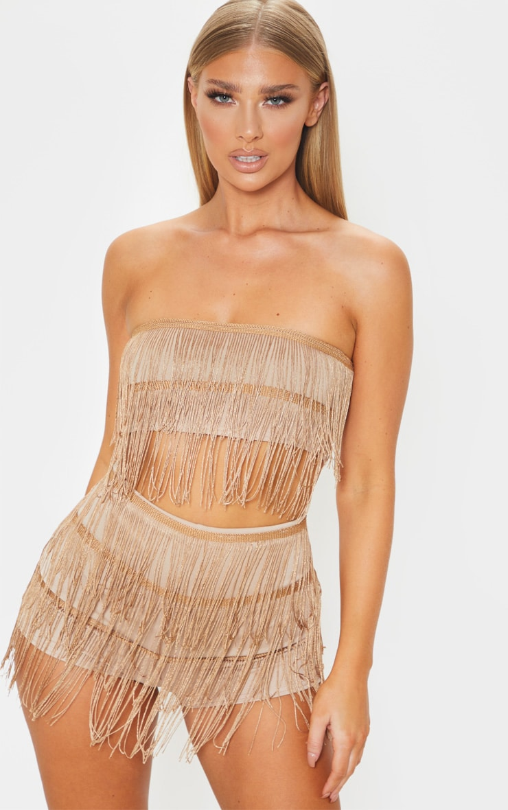 Bronze Tassel Bandeau Crop Top 1