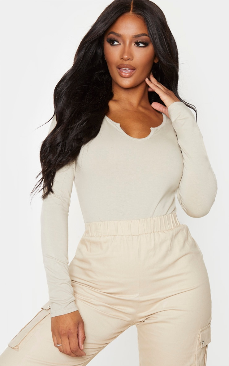 Shape Sand Cotton V Neck Long Sleeve Bodysuit 1
